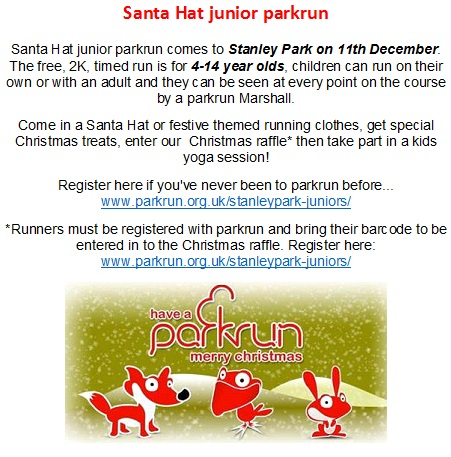 Christmas Parkrun.Santa Hat Junior Parkrun Stanley Park Our Lady